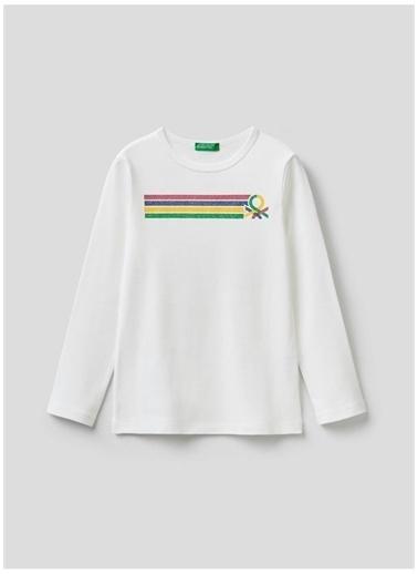 Benetton Benetton 322113I9Wc154I Pamuklu Bisiklet Yaka Uzun Kollu Baskılı  Kadın T-Shirt Beyaz